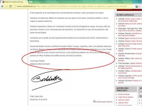 Carta publicada por Cubadebate que difiere de leida por Maduro