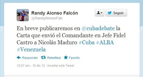 Tweet Randy Alonso Carta Castro-Maduro