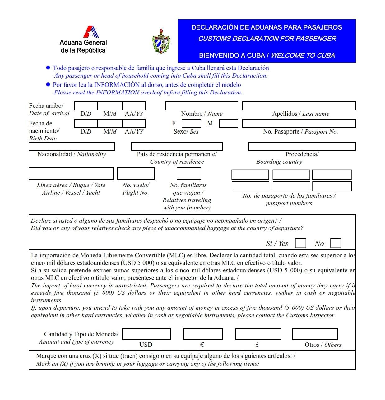 Nueva Declaración de Aduanas vigente desde el 15 de enero de 2013 ... 995b988cd958